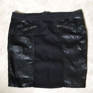 Forever 21 black faux leather and denim skirt